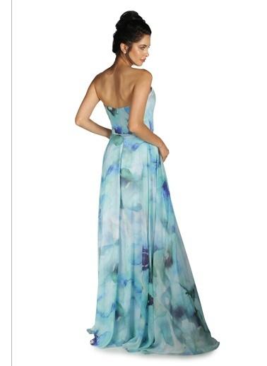 Pierre Cardin Straplez Şifon Uzun Abiye Elbise Mavi